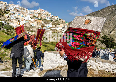 Greece, Aegean Islands Olympos, Karpathos island, procession of Easter Tuesday, The icons are walking in the village - Stock Photo