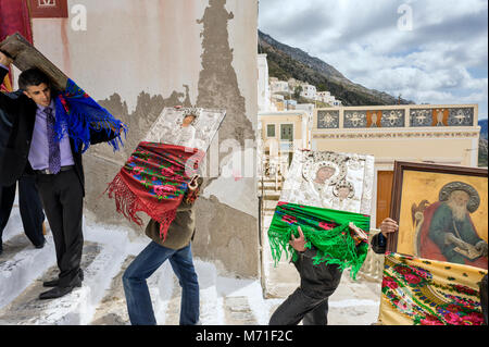 Greece, Olympos, Karpathos island, procession of Easter Tuesday, The icons are walking in the village and throughout - Stock Photo
