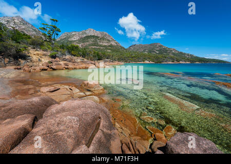 Honeymoon Bay in Freycinet National Park. - Stock Photo