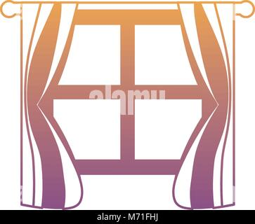 house window with curtains over white background vector illustration - Stock Photo