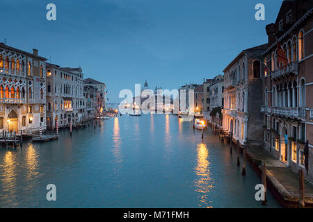 View looking at the beautiful palaces and buildings down the Grand Canal towards Santa Maria della Salute from the - Stock Photo