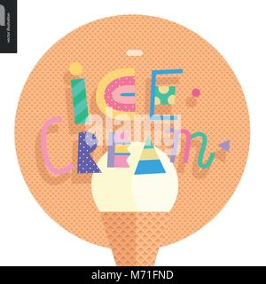 Love spring ice cream lettering - Stock Photo