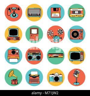 A vector illustration of Retro Electronic Equipment Icons - Stock Photo