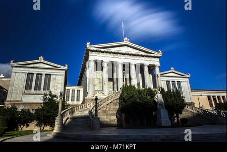 The National Library of Athens taken with a long exposure shot. - Stock Photo