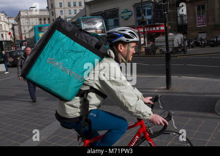 Deliveroo, fast food delivery from takeaways in Liverpool, Merseyside. UK - Stock Photo