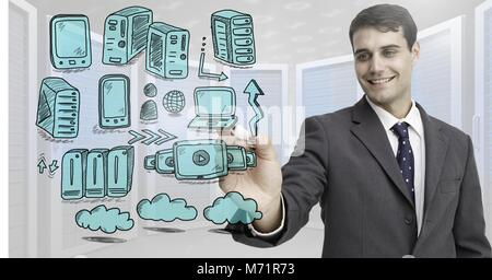 Servers network doodle being drawn by businessman's hand - Stock Photo