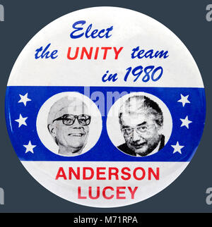 A 1980 United States presidential campaign button badge for the National Unity Party candidates John Anderson and - Stock Photo
