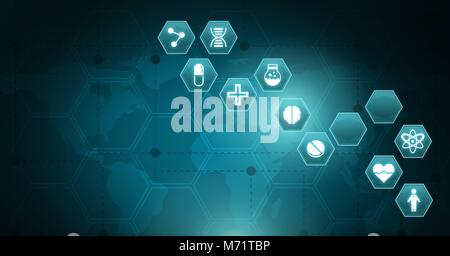 medical interface hexagon icons over world map - Stock Photo