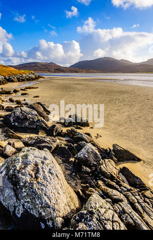 Luskentyre beach on the west coast of the Isle of Harris, Outer Hebrides, Scotland, UK on a bright sunny afternoon - Stock Photo