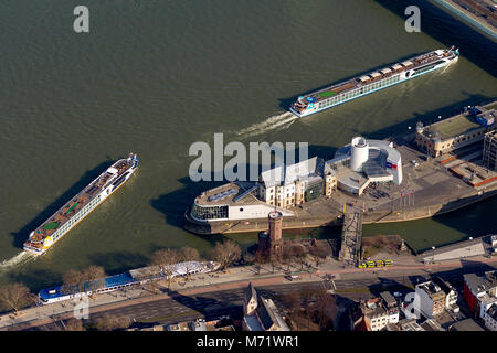 Aerial view, pleasure boats Amelia before the Chocolate Museum in Cologne, Stollwerk, Rhine, Cologne, Rhineland, - Stock Photo