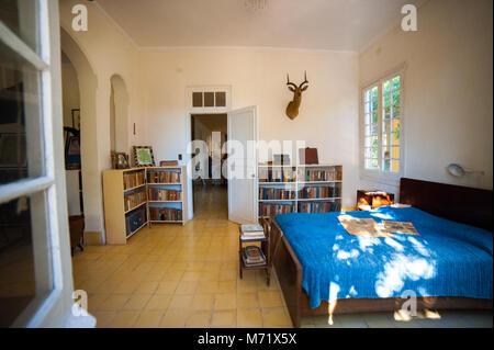 Bedroom at Finca Vigía, Ernest Hemingway's house in Havana, Cuba - Stock Photo