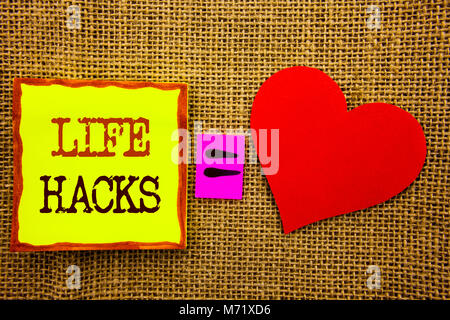 Handwriting text showing Life Hacks. Business concept for Solution Hacking Hack Trick To Help Efficiency written - Stock Photo