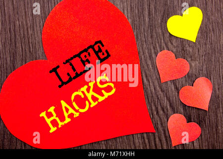 Handwriting Announcement text showing Life Hacks. Concept meaning Solution Hacking Hack Trick To Help Efficiency - Stock Photo