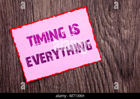Handwriting Announcement text showing Timing Is Everything. Conceptual photo Important Success Advice To Be Ready - Stock Photo