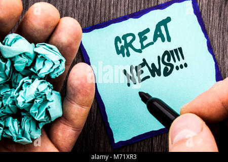 Announcement text showing Great News. Business concept for Success Newspaper Information Celebration written Notebook - Stock Photo