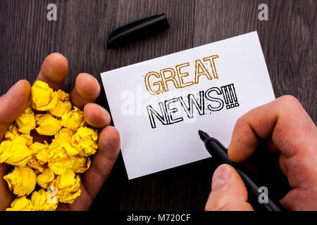 Conceptual text showing Great News. Business photo showcasing Success Newspaper Information Celebration written - Stock Photo