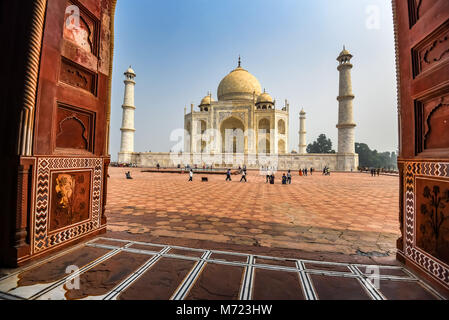 AGRA, INDIA - NOVEMBER 8, 2017: Taj Mahal scenic view from mosque in Agra, India. - Stock Photo