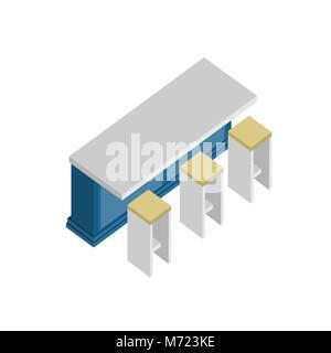 Modern Kitchen Blue Table Vector Isometric Furniture Illustration Graphic Design - Stock Photo