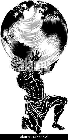 Atlas Titan Holding Globe - Stock Photo