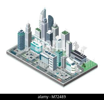Smart city with skyscrapers, people and transport on white background, innovation and urban technology concept - Stock Photo