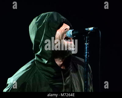 MILAN, ITALY, FEBRUARY 26, 2018 - Liam Gallagher performs in concert at Fabrique in Milan, Italy on February 26, - Stock Photo