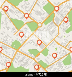 City map abstract seamless pattern vector background - Stock Photo