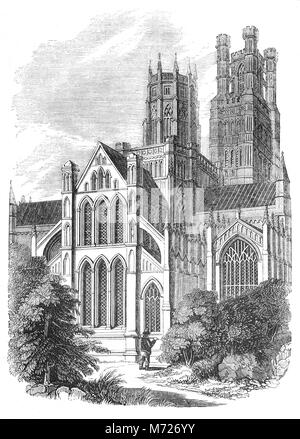 Ely Cathedral has its origins in AD 672 when St Etheldreda built an abbey church. The present building dates back - Stock Photo