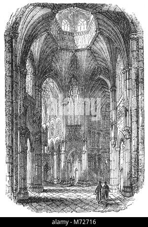 The Nave of Ely Cathedral whichn has its origins in AD 672 when St Etheldreda built an abbey church. The present - Stock Photo