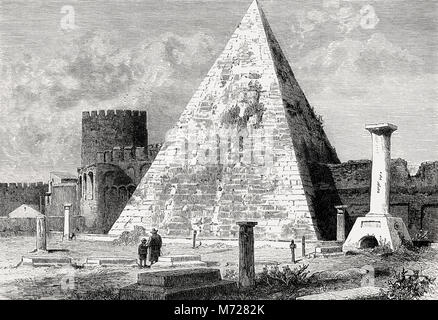 The Pyramid of Cestius, an ancient pyramid in Rome, Italy - Stock Photo
