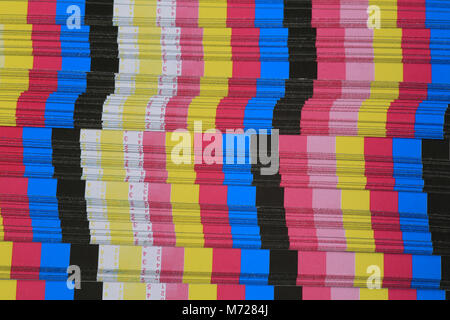 Colour bars printed on the waste area of a printed sheet to check colour density. - Stock Photo