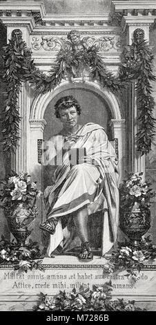 Publius Ovidius Naso or Ovid, 43 BC - 17, a Roman poet, Stock Photo