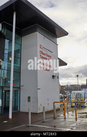 Main entrance to Oban Ferry Terminal at Oban Harbour. Bookings for  Caledonian MacBrayne ferry. - Stock Photo