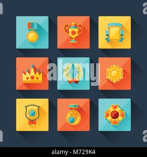 Trophy and awards icons set in flat design style - Stock Photo