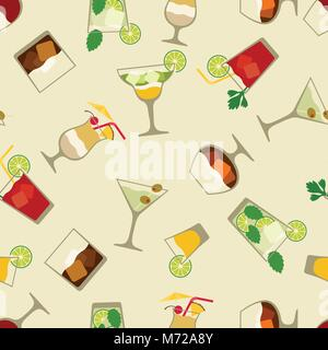 Alcohol drinks and cocktails seamless pattern in flat style - Stock Photo