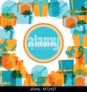 Invitation background or card with colorful gift boxes - Stock Photo