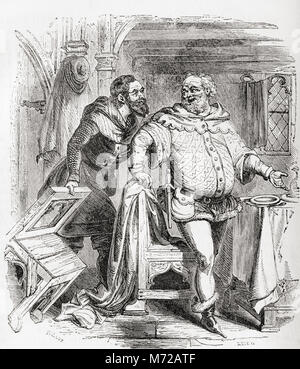 The Franklin and the Merchant.  From Old England: A Pictorial Museum, published 1847. - Stock Photo