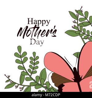 Happy mothers day card with butterflies and flowers - Stock Photo