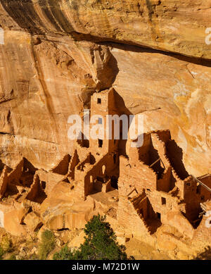 Square Tower House Ruin, Mesa Verde National Park, Ute Indian Reservation, Montezuma County, Colorado - Stock Photo