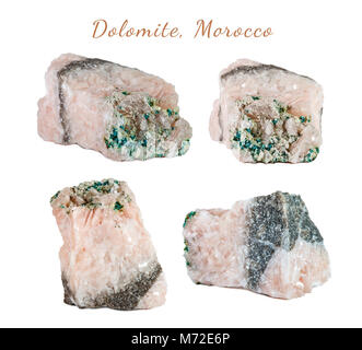Macro shooting of natural gemstone. Raw mineral dolomite, Morocco. Isolated object on a white background. - Stock Photo
