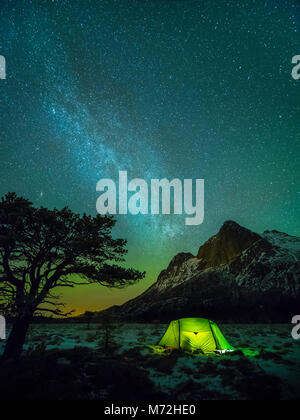 Camping under the Milky way. A pine tree, a tent and the mountain of 'Strandåtinden' during night time with the - Stock Photo
