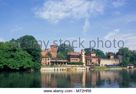 borgo medioevale, turin, italy - Stock Photo