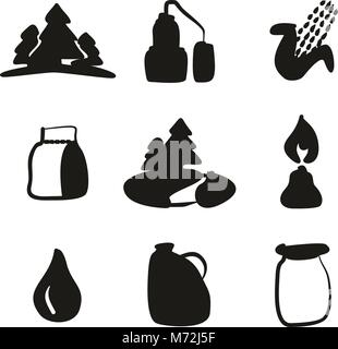 Moonshine Icons Freehand Fill - Stock Photo