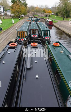Narrowboats moored up on the Llangollen canal in the Trevor Basin in North East Wales - Stock Photo