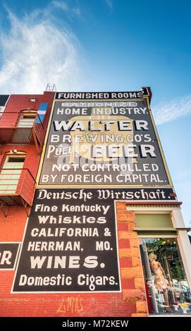 Historic advertising signs at West B Street near Union Depot, Union Avenue Historic District, Pueblo, Colorado, - Stock Photo