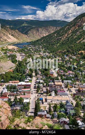Town of Georgetown, Rocky Mountains, Colorado, USA, aerial view from Guanella Pass Road - Stock Photo