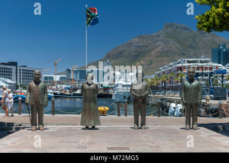 Statues of South Africa's four Nobel Peace prize laureates in the Waterfront in Cape Town, South Africa. - Stock Photo