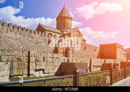 Narikala Castle in Tbilisi, Georgia. Sun flare - Stock Photo