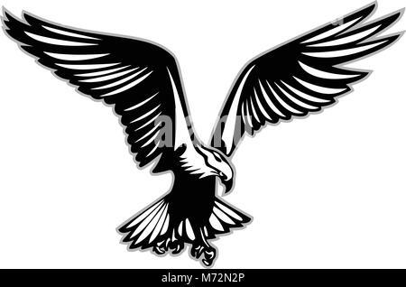 Bird of prey in flight vector illustration - Stock Photo