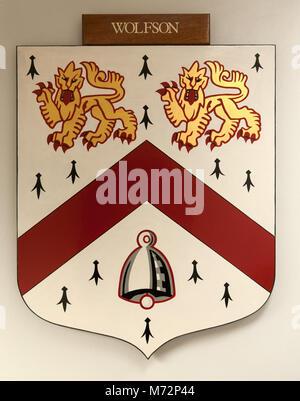 CAMBRIDGE, ENGLAND, UK - DECEMBER 03 2011: Coat of Arms of Wolfson College Cambridge - Stock Photo