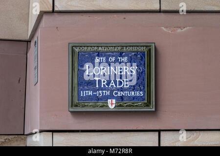 Blue plaque commemorating the site of Loriners' Trade Association, London - Stock Photo